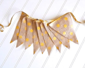 40% off Sale!! - Burlap Fabric Pennant Banner, Bunting - Metallic Gold Polka Dot