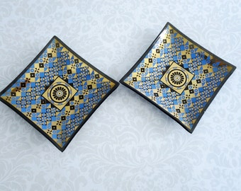 Mid Century Houze Glass Nut Dishes Cobalt and Gold, Vintage Bent Art Glass Plates Pair, Smoked Glass Trimmed in Gold