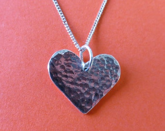 Hammered Silver Heart Pendant