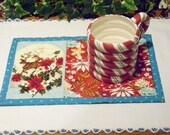 Christmas Quilted Mug Rug Reindeer Floral Design Candle Mat