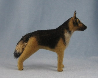 German Shepherd Soft Sculpture Miniature Dog by Marie W. Evans