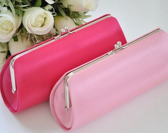 Set of 2-Simple Satin clutches in Medium size / Bridesmaid clutches / Wedding clutches - Custom Color