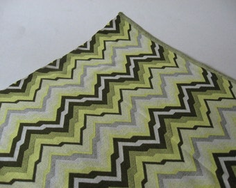 Glorious mid century vintage silky polyester knit fabric chevron zig zag greens wide print 2 yards available