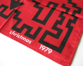 1979 Royal Swazi Hotel print cotton napkin black tribal on red Christmas pillow cover place mat napkin