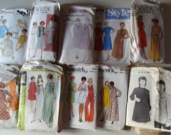 Lot of 10 Vintages ladies sewing patterns 60's - 80's