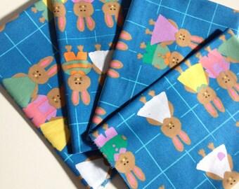 FQ Fat Quarter Vintage Bunny Rabbit Fabric EASTER Juvenile Kids 1990s 90s