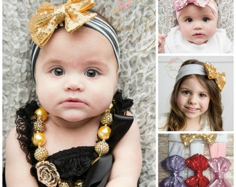 CLEARANCE Gold sequin Bow Headband, Girls  jersey Head wraps, Girls Headband,Black and Gold Headband, Baby Headbands,Baby Knott Headband.