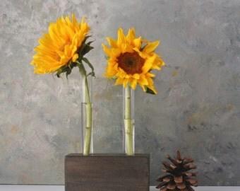 Test Tube flower vase, bud vase, small gift,wood bock, brown/black, rustic, simple vase