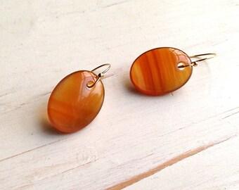 Carnelian Earrings Carnelian Slice Earrings Carnelian Jewelry