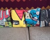 4 Avengers MARVEL comic book 14x14 Pillow Cushion Cover Upcycled Tshirts Eco for the price of 3