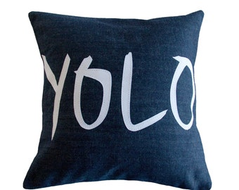 YOLO pillow, Navy and White