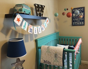 Nursery Decor Personalized Name Banner With Stars and Rockets / Space Room Decor / Personalized Boy or Girl Name Banner / Baby Shower Banner