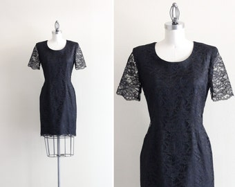 SALE - Black Lace Dress . 1940s Wiggle Dress . Little Black Dress LBD