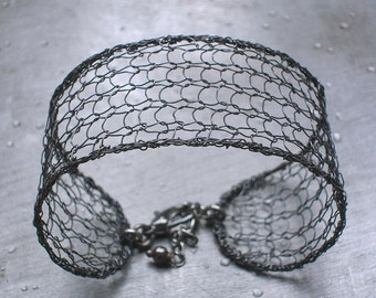Oxidized Mesh Cuff Bracelet, Knit Wire Crochet Jewelry, Modern Jewelry