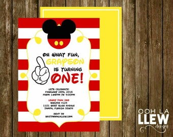 Mickey Mouse First Birthday Party Invitation