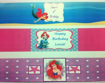Princess Ariel WATER BOTTLE LABELS for Birthday Party