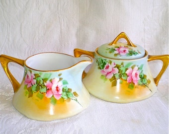 Sugar and Creamer, Pink Roses, Bavarian, Yellow, Porcelain, Hand Painted, Antique Roses, Cottage Chic, 1900s