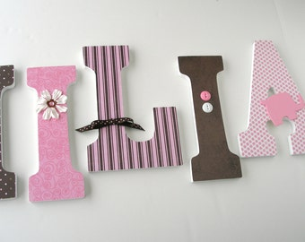 Baby Girl Wooden Letters for Nursery - Pink and Brown Elephant - Custom Nursery Decor