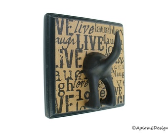 Leash Hook - Single Tail - Live, Laugh, Love - Personalize with Optional Letter Tiles