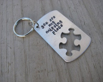 "Inspiration Puzzle Piece Keychain -""you are my missing piece"""