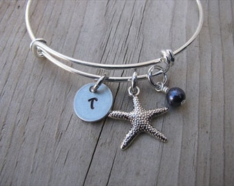 Personalized Initial Starfish Bangle Bracelet- Adjustable Bangle Bracelet with Hand-Stamped Initial, Starfish, and an accent bead of choice