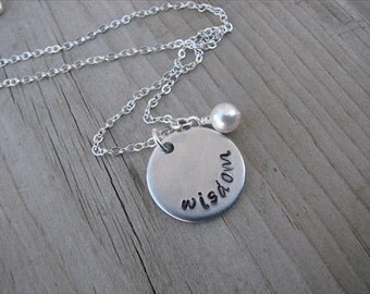 "Inspiration Necklace- ""wisdom"" with an accent bead in your choice of colors- Hand-Stamped Jewelry"