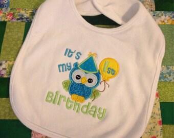 Owl 1st Birthday Baby Bib