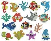SEA ANIMALS - Machine Embroidery - Instant Digital Download