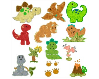 DINOSAURS - Machine Applique Embroidery - Instant Digital Download