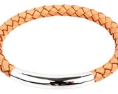 "Mens Leather Bracelet - Adjustable Natural Braided Bolo Leather Bracelet Stainless Steel Lock 8"", B0008NAT NEW!"