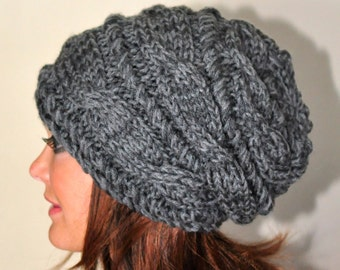 Women Hat Slouchy Hat Slouch Beanie Cabled Hat Hand Knit Winter Adult Hat Gray Dark Grey Chunky Christmas Gift