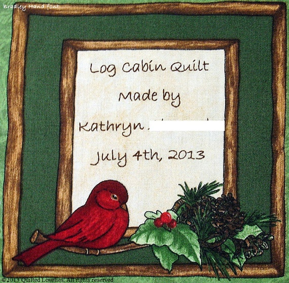 Quilt Label - Cardinal In Twig Frame, Custom Made & Hand Embroidered LAST ONE