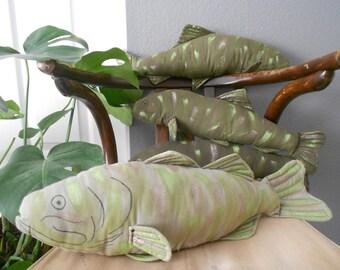 handmade life size vintage fish plush toy / green / trout / salmon / fisherman / baby boy nursery