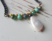 Freshwater Pearl and Picasso - Pearl Jewelry - Green Necklace - Boho Chic