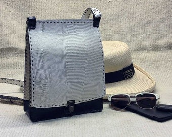 Crossbody travel purse - - BLACK and WHITE leather