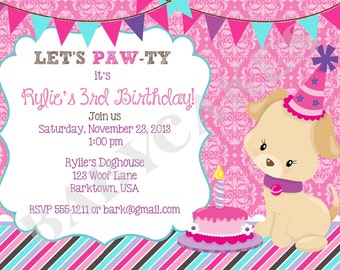 Puppy Birthday Invitation invite puppy party puppy pawty dog invite invitation pink purple digital printable DIY