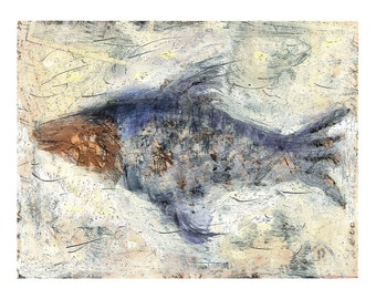 Fish painting original decorative gift acrylic paper