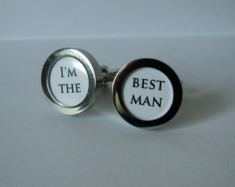 Cuff links for Best man in silver finish.