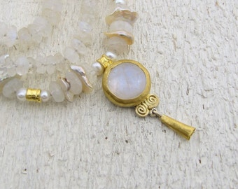 Moonstone & Gold Necklace - 24k Gold Bridal Necklace - Handmade Wedding Jewelry