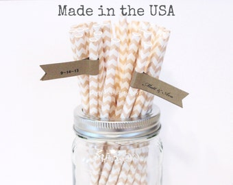 Ivory  Paper Straws, 100 Beige Cream Chevron Paper Straws, Wedding, Baby Shower, Made in USA, Rustic, Vintage Burlap and Lace, Paper Goods
