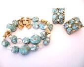 Vintage KRAMER Turquoise Art Glass Bead Bracelet and Earrings Set
