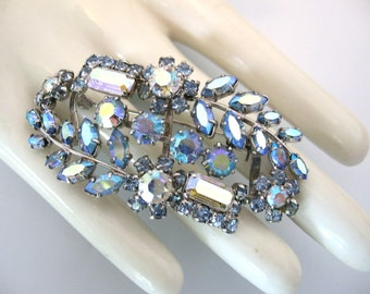 Vintage AUSTRIA Brooch - Austrian Ab Blue Rhinestone Brooch - Something Blue