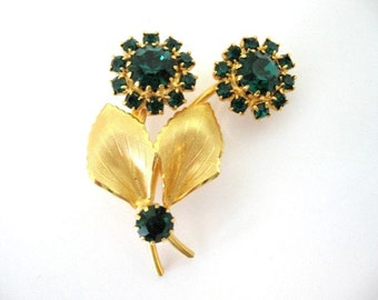 Vintage Rhinestone Brooch - Emerald Green Flower Spray Brooch