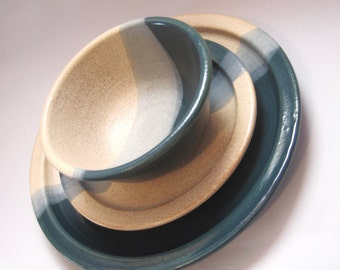 Three Piece Setting, Handmade Dinnerware - Dinner Plate, Salad Plate & Soup Bowl - Teal and Speckled Cream
