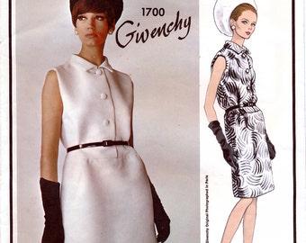 Vogue Paris Original 1700 by Givenchy Vintage 60s Misses' Dress Sewing Pattern - Uncut - Size 16 - Bust 36