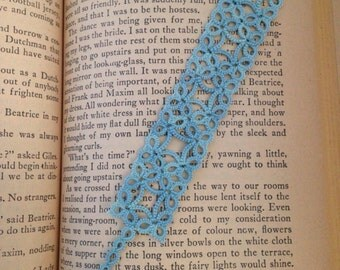 "Handmade, shuttle tatted lace bookmark, ""Frames"", in blue and green"