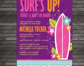 Surfer Baby Shower Invitation - Baby On Board - Luau Girl Baby Shower Invite - Purple, Pink & Aqua Blue
