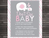 Elephant Baby Shower Don't Say Baby Game Printable - Pink and Gray Baby Shower Dont Say Baby Sign - Girl Baby Shower Clothespin Game