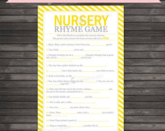 Yellow Baby Shower Nursery Rhyme Quiz Game - Gender Neutral Baby Shower Games Printable - Instant Download - Yellow Baby Shower Games