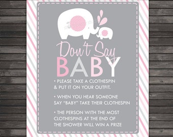 Princess Baby Shower Donu0027t Say Game Printable Pink Baby